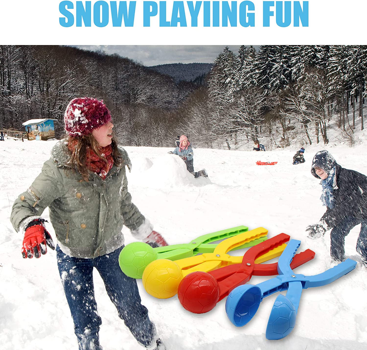 Nirose Snow Ball Clip Snow Games for Kids Snowball Maker 4 Pack Snow Toys for Kids Snow Ball Fights Kids Winter Outdoor Toys
