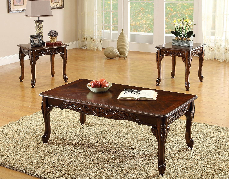 Furniture of America 3-Piece Chesapeke Table Set, Cherry Finish IDF-4914-3PK
