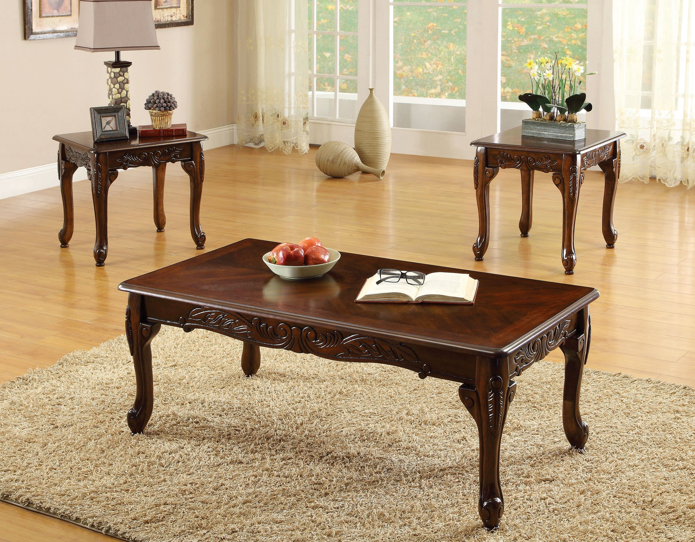 Furniture of America 3-Piece Chesapeke Table Set, Cherry Finish by Furniture of America