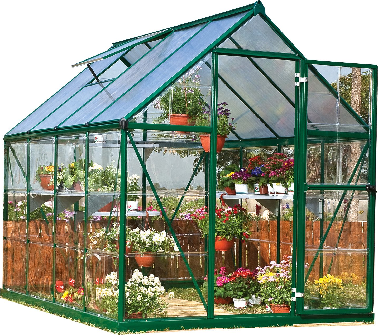 Palram Nature Series Hybrid Hobby Greenhouse - 6' x 8' x 7', Forest Green