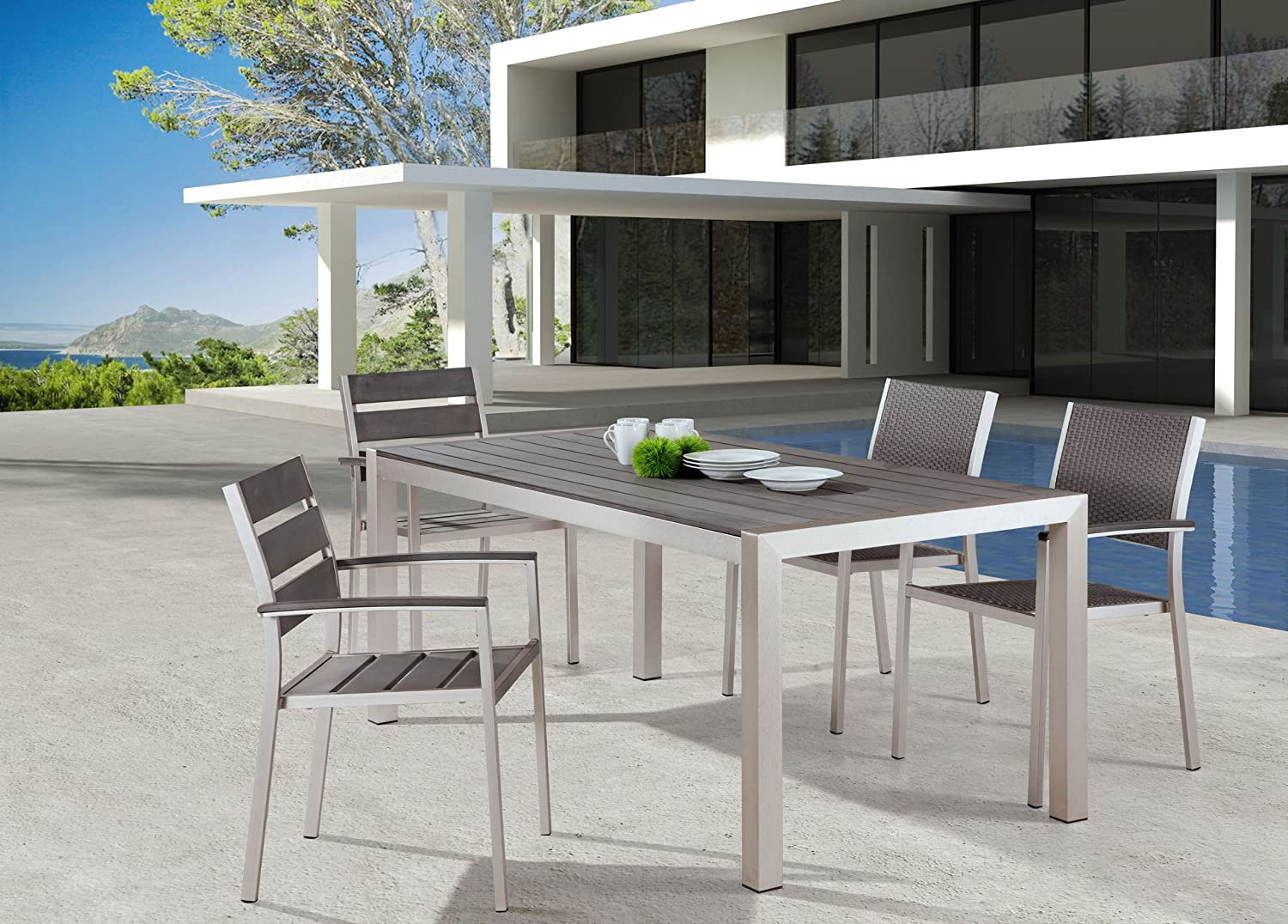 Amazon.com : Zuo Outdoor Metropolitan Dining Table, Brushed Aluminum ...