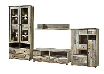 Stella Trading BZDDD01080 Wohnprogramm Wohnwand Set Anbauwand, Holz, Braun,  342 X 189 X