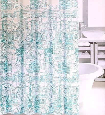 Amazon Fabric Shower Curtain Aqua Teal Eiffel Tower Paris Map