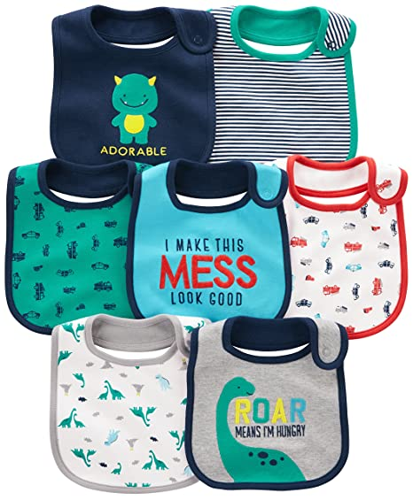 309d4a12275a Amazon.com  Simple Joys by Carter s Baby Boy s 7-Pack Teething Bib ...