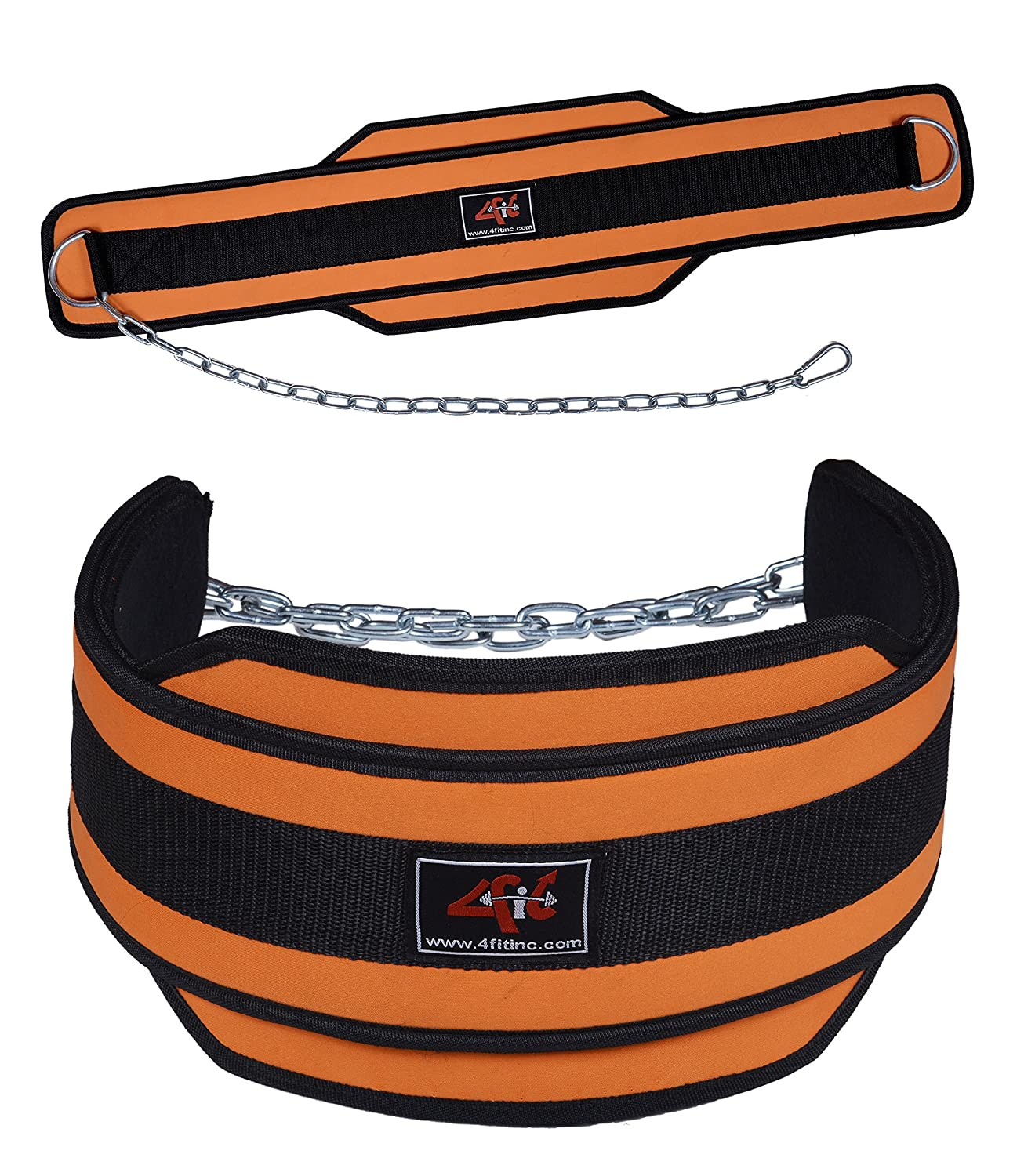 4Fit Weight Lifting Belt, Neoprene Belt Exercise Belt Heavy Chain Belt-Orange