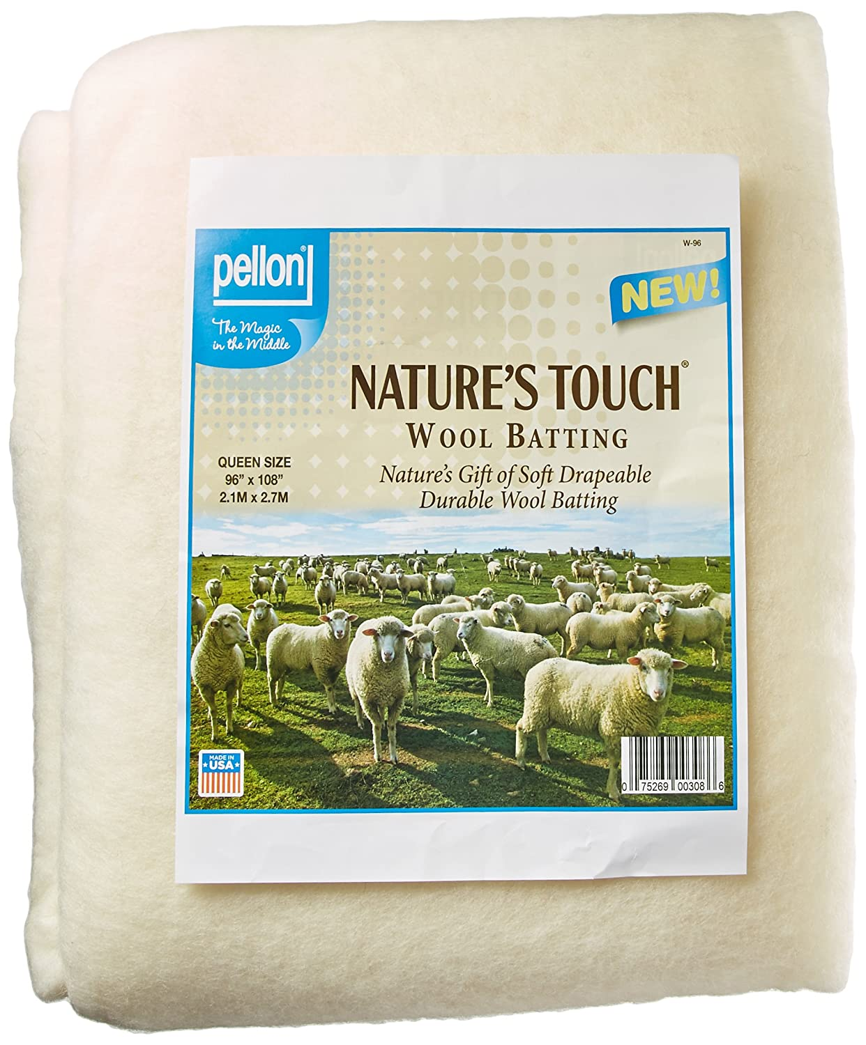 Pellon W-96 Queen Size Wool Batting, 96 by 108, White 96 by 108