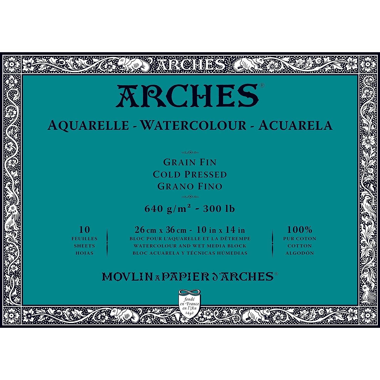 Arches 1795088 Aquarellpapier im Block (36 x 51 cm, 4-seitig geleimt, 300g m² Grobkorn) 20 Blatt naturWeißszlig;  Block 10 Blatt - 26 x 36cm