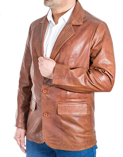 Hombres Marr-n Casta-o Italiana de Cuero Real Ajuste Delgado Dos Botones de la Chaqueta Cl‡sico Blazer: Amazon.es: Ropa y accesorios