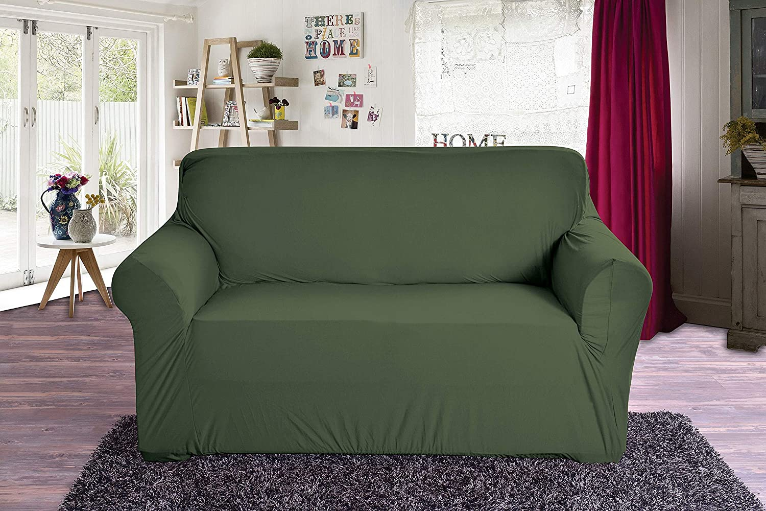 Elegant Comfort Jersey Luxury Featuring Super Soft Pet Dog Furniture Protector Fitted Couch Slipcover, Love Seat, Hunter Green