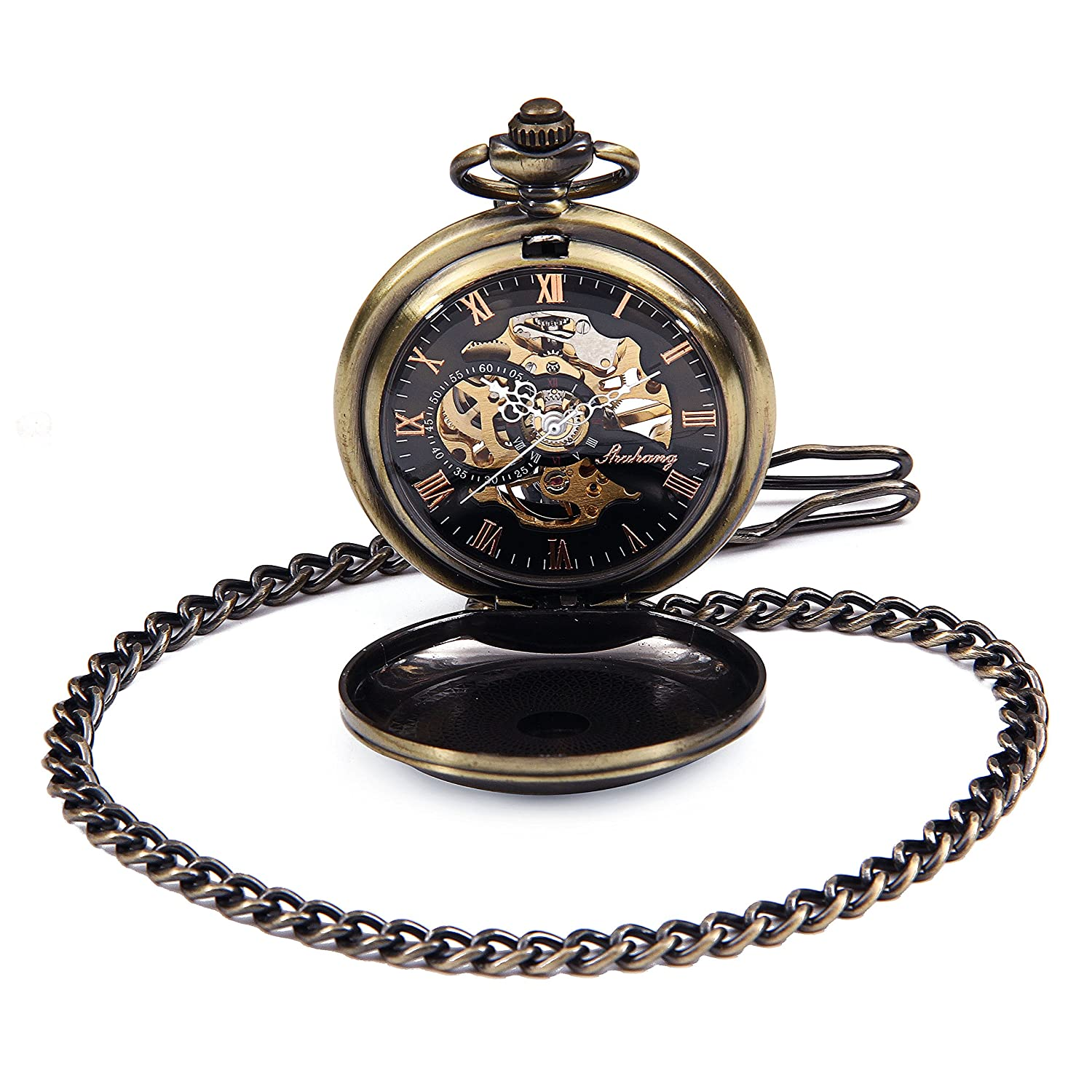 Amazon.com: Bronze Tone Case Roman Number Dial Steampunk Hand Wind Mens Mechanical Pocket Watch reloj de bolsillo: Watches