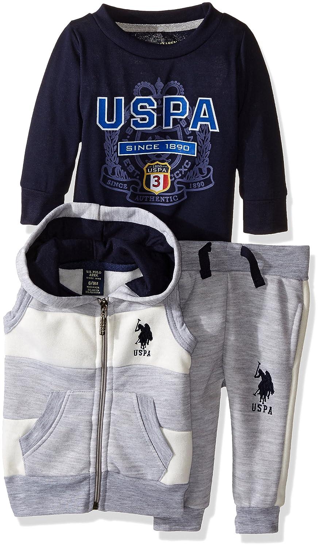 30e7cdc06 Amazon.com  U.S. Polo Assn. Baby Boys  Fleece Hooded Vest and Jog ...