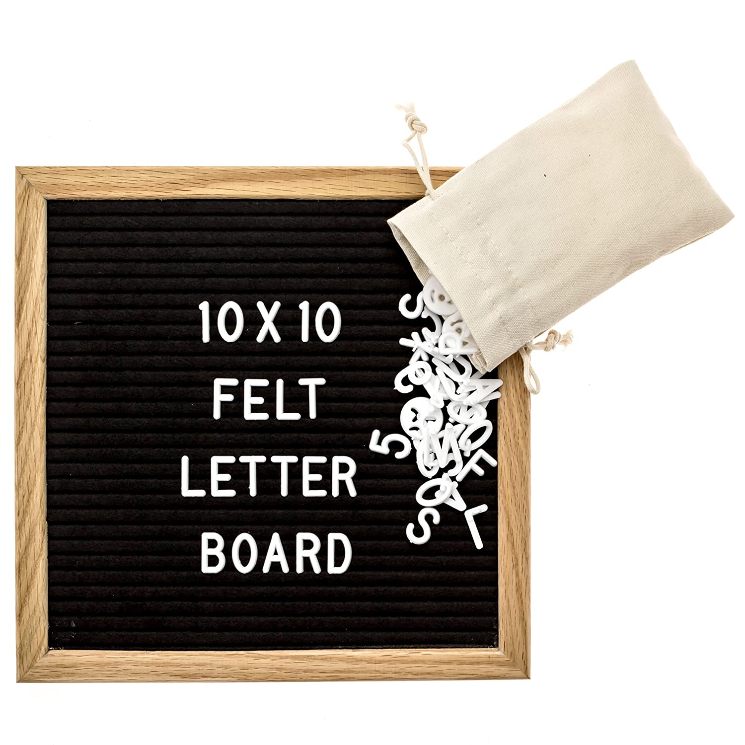 Black Felt Letter Board with 290 Letters, Numbers & Symbols,10x10 Inches, Changeable Wooden Message Board Sign, Natural Oak Wood Frame,Wall Mount, With Free Canvas Bag, By Barista Tools