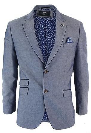 c0db713b7e4c Veste homme tweed bleu ciel empiècement coude bleu marine laine mélangée  coupe ajustée  Amazon.fr  Vêtements et accessoires