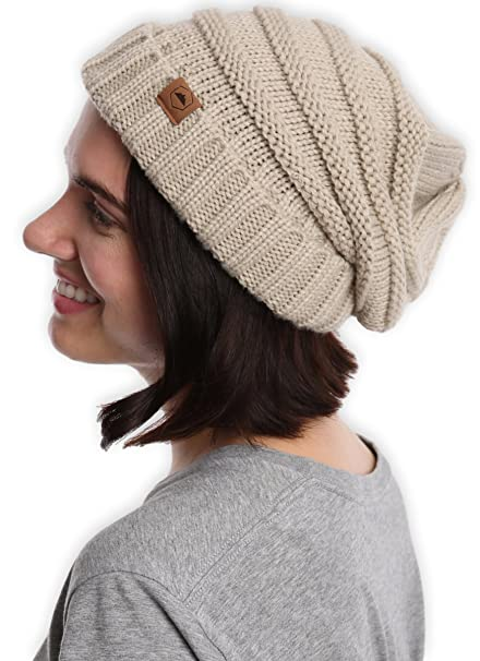 Tough Headwear Slouchy Cable Knit Cuff Beanie