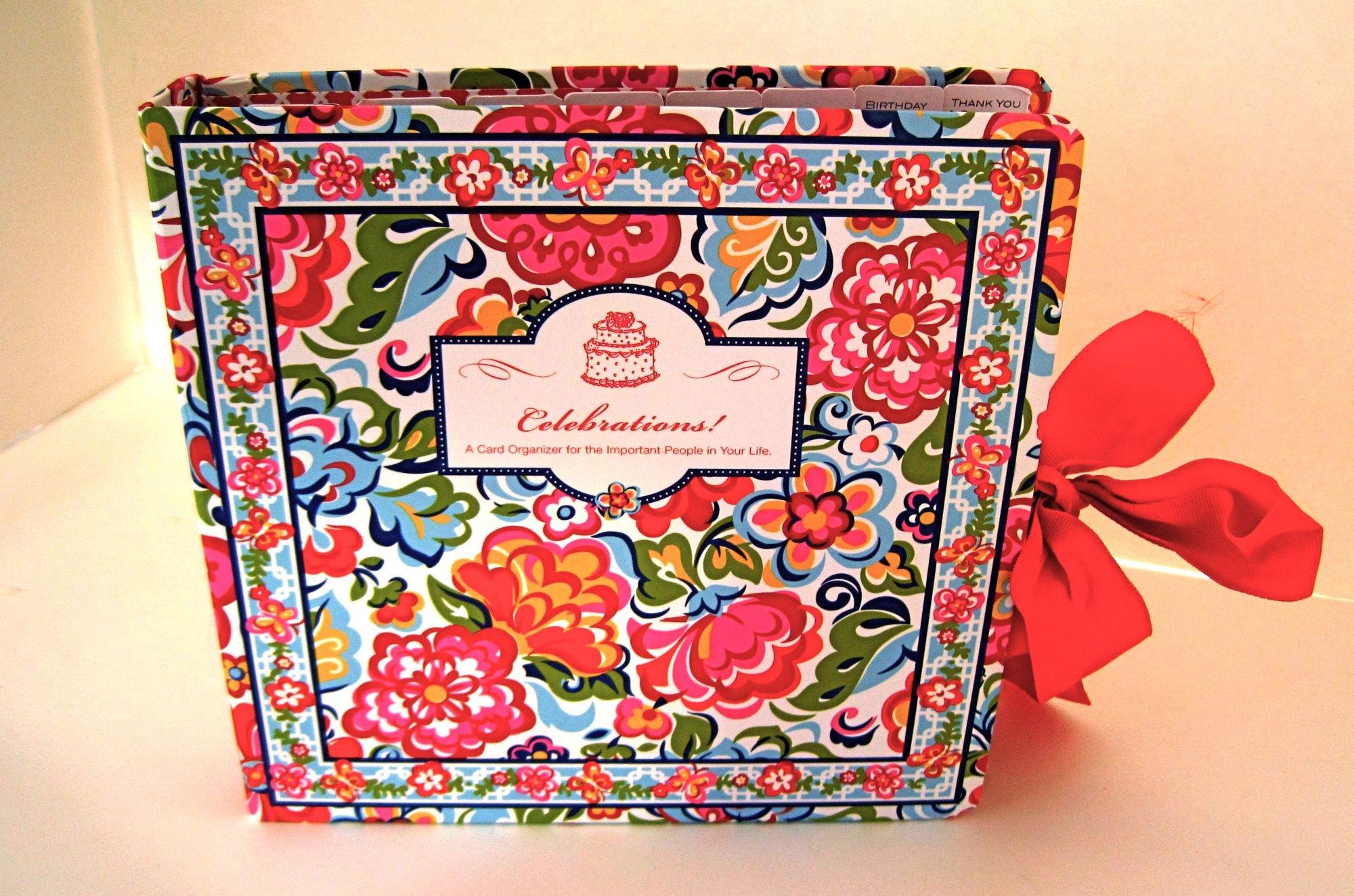 Vera Bradley Celebrations Book English Garden Greeting Card Organizer