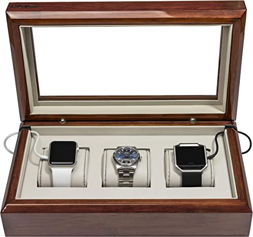 OYOBox Smart Watch Box, Luxury 3 Slot Lacquered Wood Organizer to Store and Charge, Mahogany