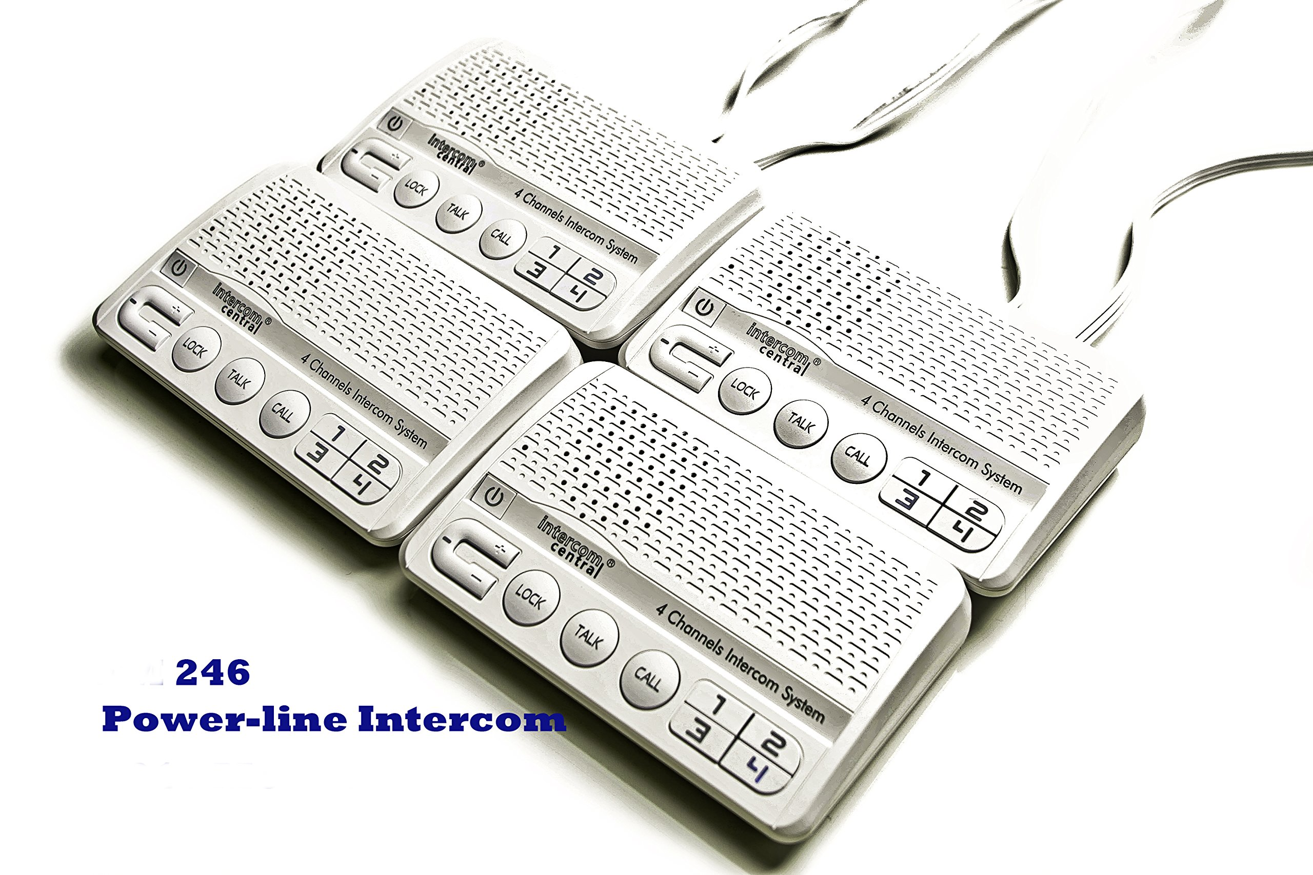 Intercom Central 246 - 4 Channels HOME Power-line Intercom System, 3 Wire, White, Four Stations Set