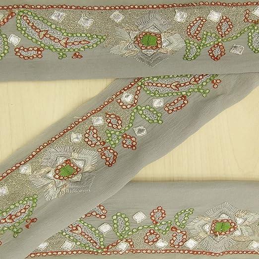 Sewing Jacquard Trim Teal Green Zigzag Pattern Woven Sari Border Lace 1 Yd