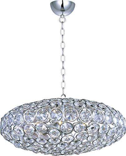 ET2 E24012-20PC, Brilliant Large Round Pendant, 8 Light, 480 Total Watts Halogen, Chrome
