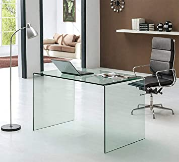 Amazon Com Neos Modern Furniture Bent Glass Computer Desk Contemporary Rectangular Shaped Pc Laptop Workstation Study Table Home Office Writing For Small Spaces Better Than Acrylic Or Lucite 50 L Clear Furniture