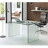 Neos Modern Furniture Bent Glass Computer Desk Contemporary Rectangular Shaped PC Laptop Workstation Study Table Home Office