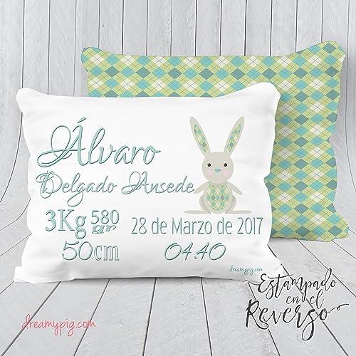 Cojín personalizado nacimiento bebé conejo con reverso ...