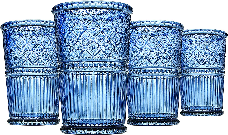 Tall Beverage Glass Cups Godinger Highball Glasses Claro,12oz Set of 4