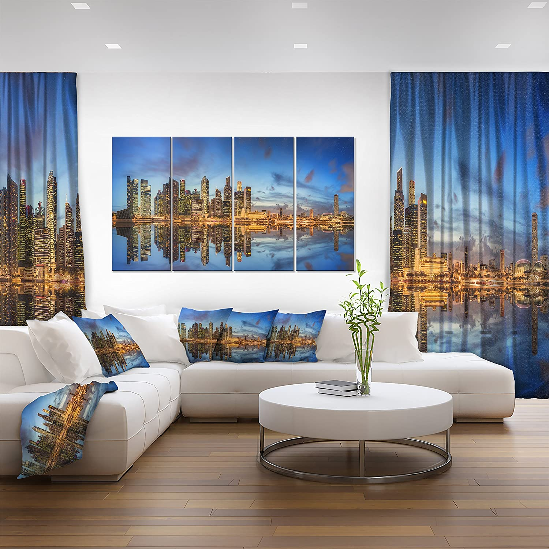 32x16 Designart PT10079-32-16 Singapore Skyline and View of Marina Bay-Cityscape Canvas print-32X16