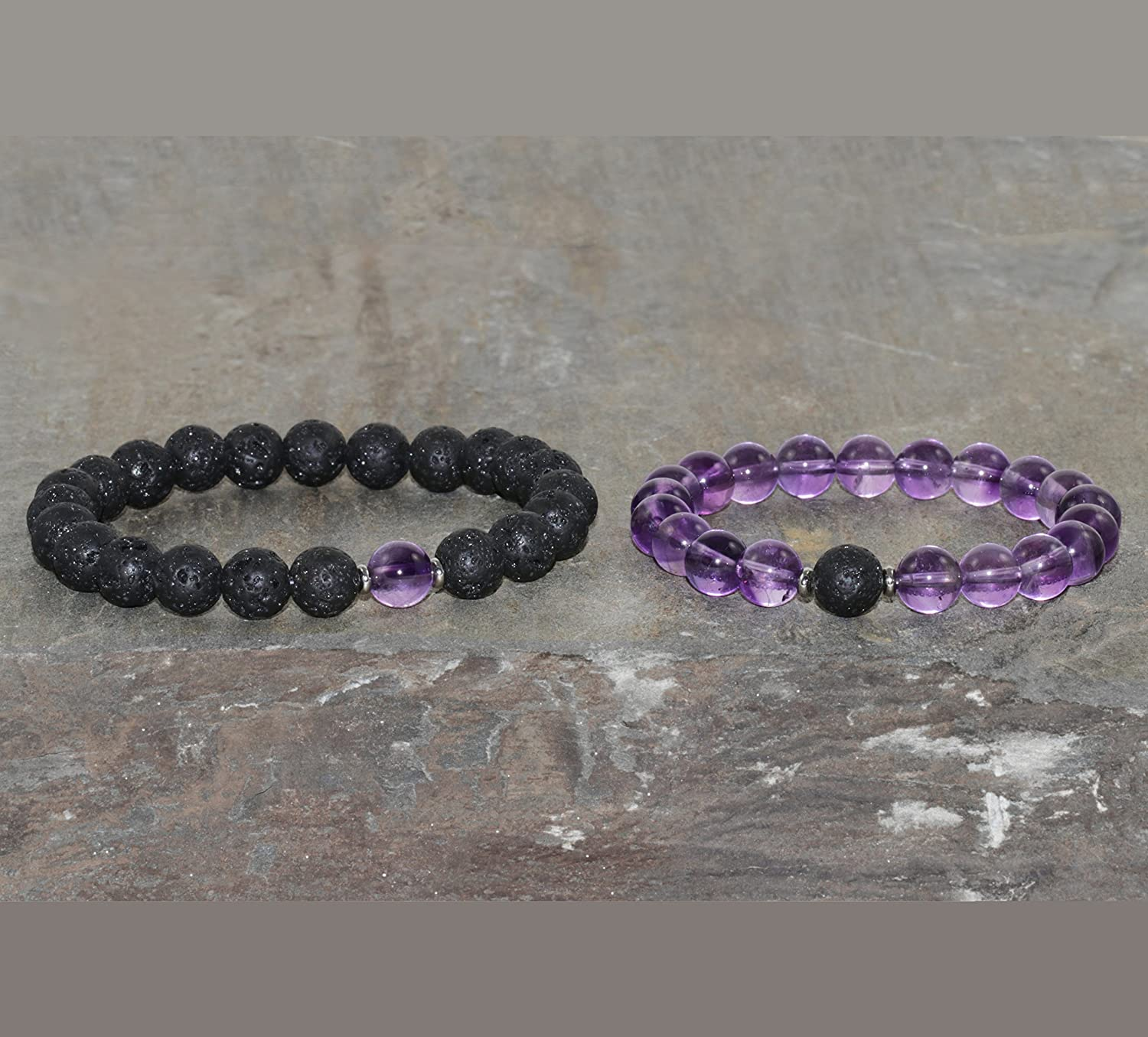 d0a12b1104c6 Amazon.com  Amethyst and Lava Couples Bracelets