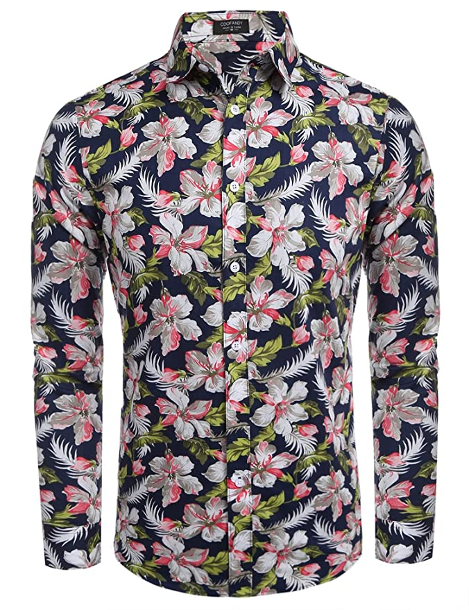 etuoji Mens Shirts Long Sleeve Floral Prints Button Down Fashion Casual Shirts at Amazon Mens Clothing store: