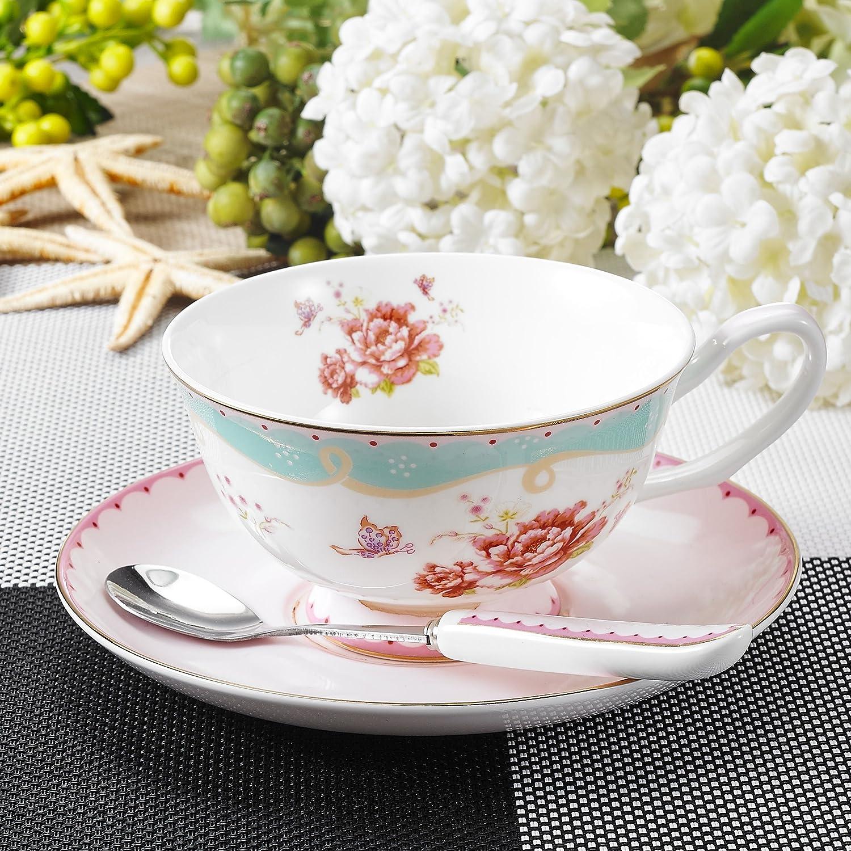 Panbado Floral Kaffeetassen aus Premium Bone China Porzellan und 1 L/öffel 1 Untertassen Beinhaltet 1 Tassen 200 ml