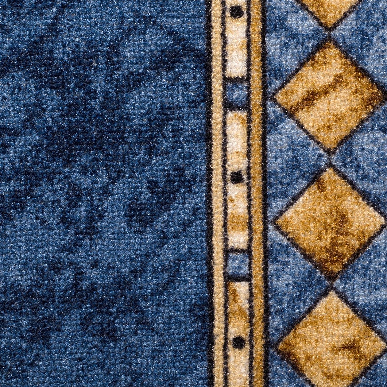 Stufenmatten blau mit aufwendiger Randmusterung   Qualitätsprodukt aus Deutschland Deutschland Deutschland   GUT Siegel   kombinierbar mit Läufer   65x23,5 cm   halbrund   15er Set B012CKHN5A Stufenmatten 0de683