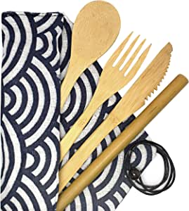 Bamboo Flatware Set, Bamboo Reusable Utensil Set, Bamboo Travel Utensils, Organic Reusable Flatware Utensils Perfect for use as Outdoor Cutlery. Includes a Fork, Spoon, Knife and a Straw.