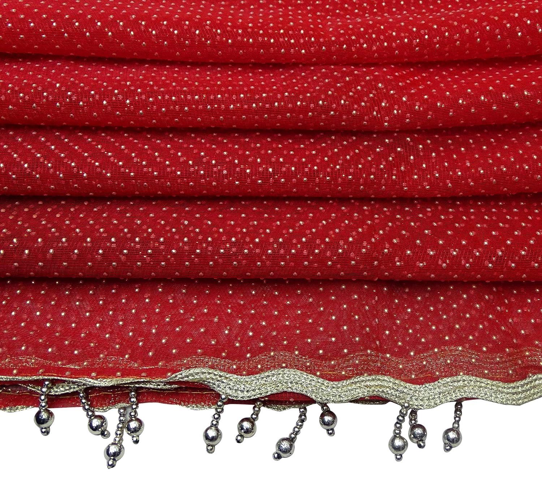 Peegli Vintage Indian Dupatta Metallic Work Womens Scarves Net DIY Sewing Fabric Polka Dot Pattern Fashion Neck Long Stole Red Wedding Designer Ethnic Hijab