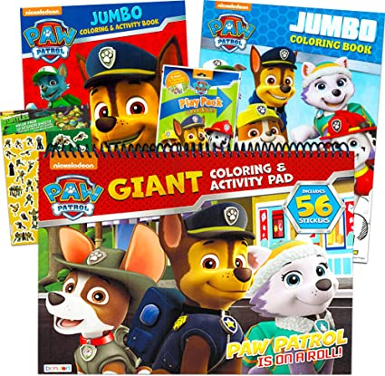 Amazon.com: Paw Patrol Coloring And Activity Book Set (3 Coloring Books  Bundle) With Bonus Stickers: Toys & Games