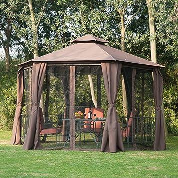 Outsunny Hexagon Gazebo Patio Canopy Party Tent Outdoor Garden ...