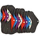 Menstrual Pad Essentials Set: 12 Reusable Pads for Period and Postpartum Care. Bamboo Charcoal Infused Fabric for Light…