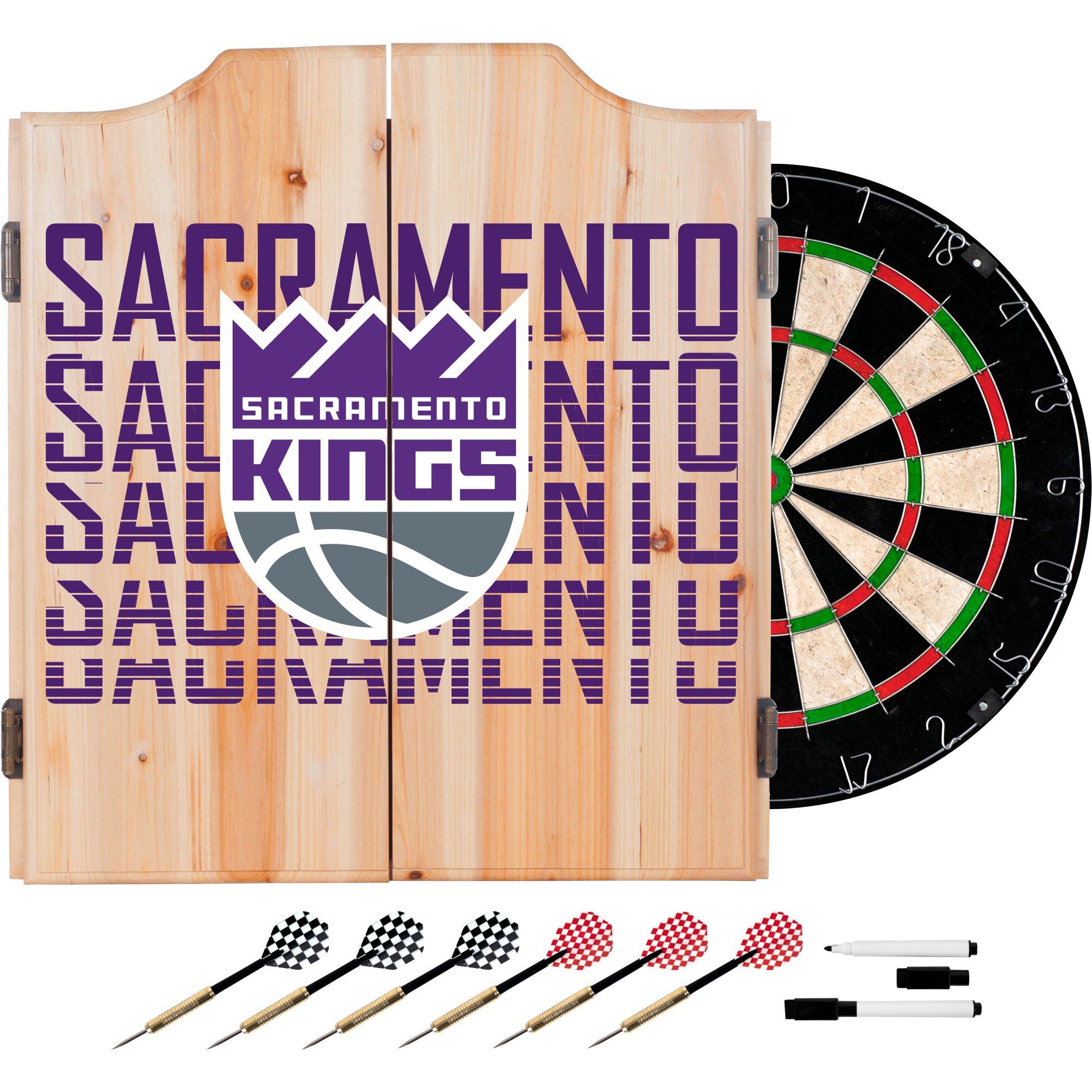 Trademark Gameroom NBA7010-SK3 NBA Dart Cabinet Set with Darts & Board - City - Sacramento Kings by Trademark Global