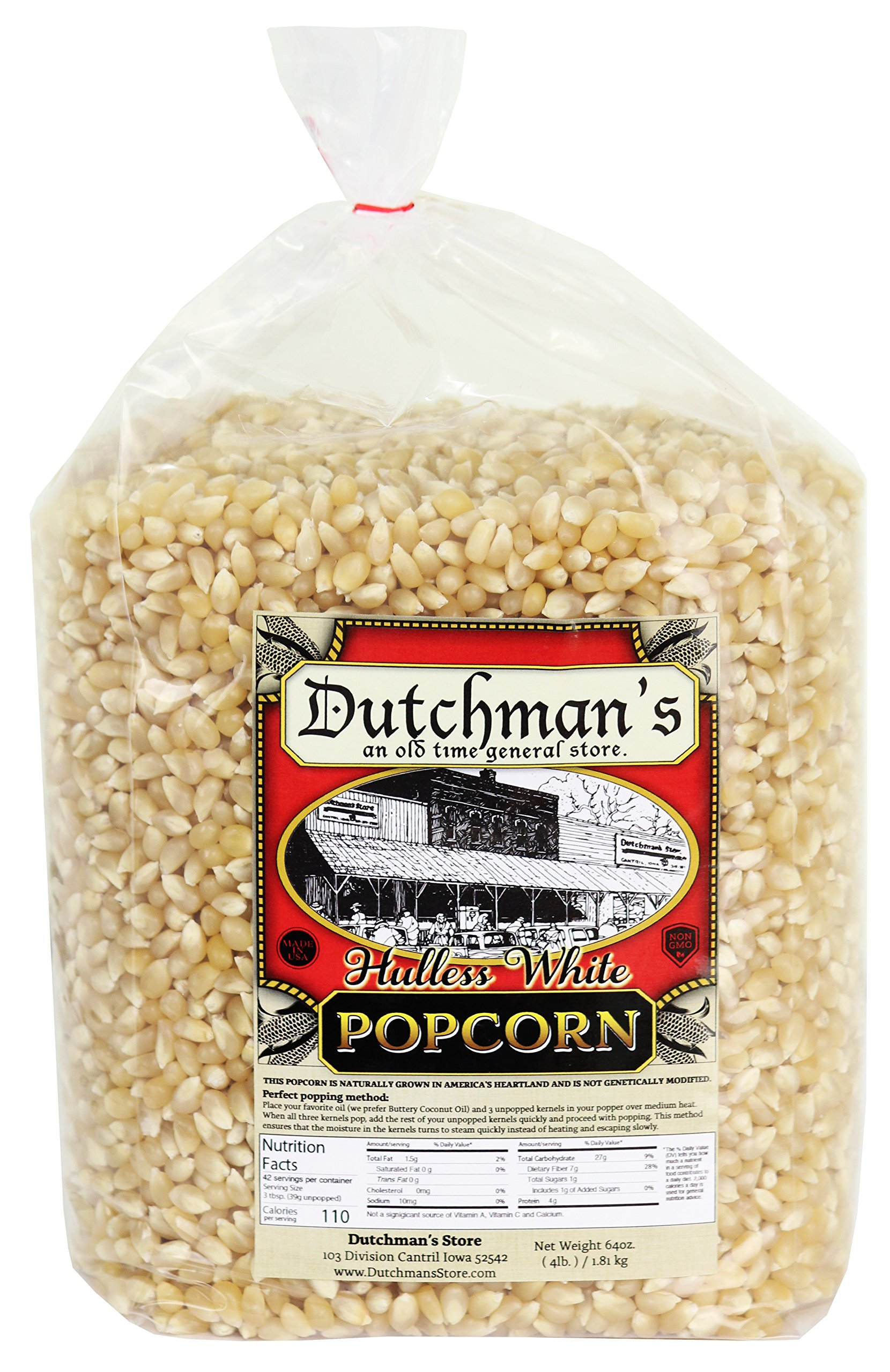 Dutchmans Popcorn - Medium Hulless White Popcorn Kernels - Four Pound Refill Bag, Old Fashioned