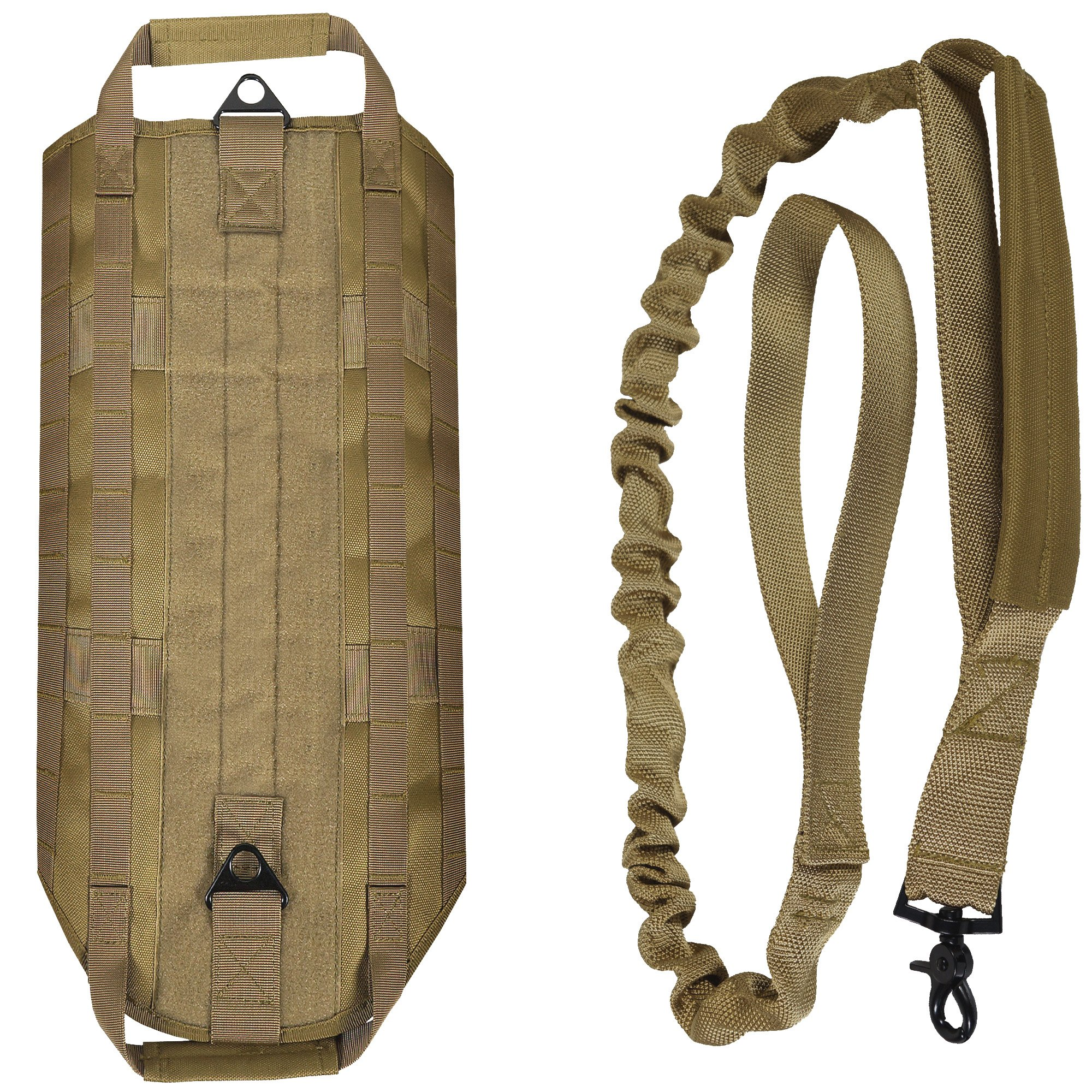 LIVABIT [ Tan Canine Service Dog Tactical Molle Vest Harness + Matching Heavy Duty Bungee Leash Strap Small [ Also for Cats & Puppies ] by LIVABIT