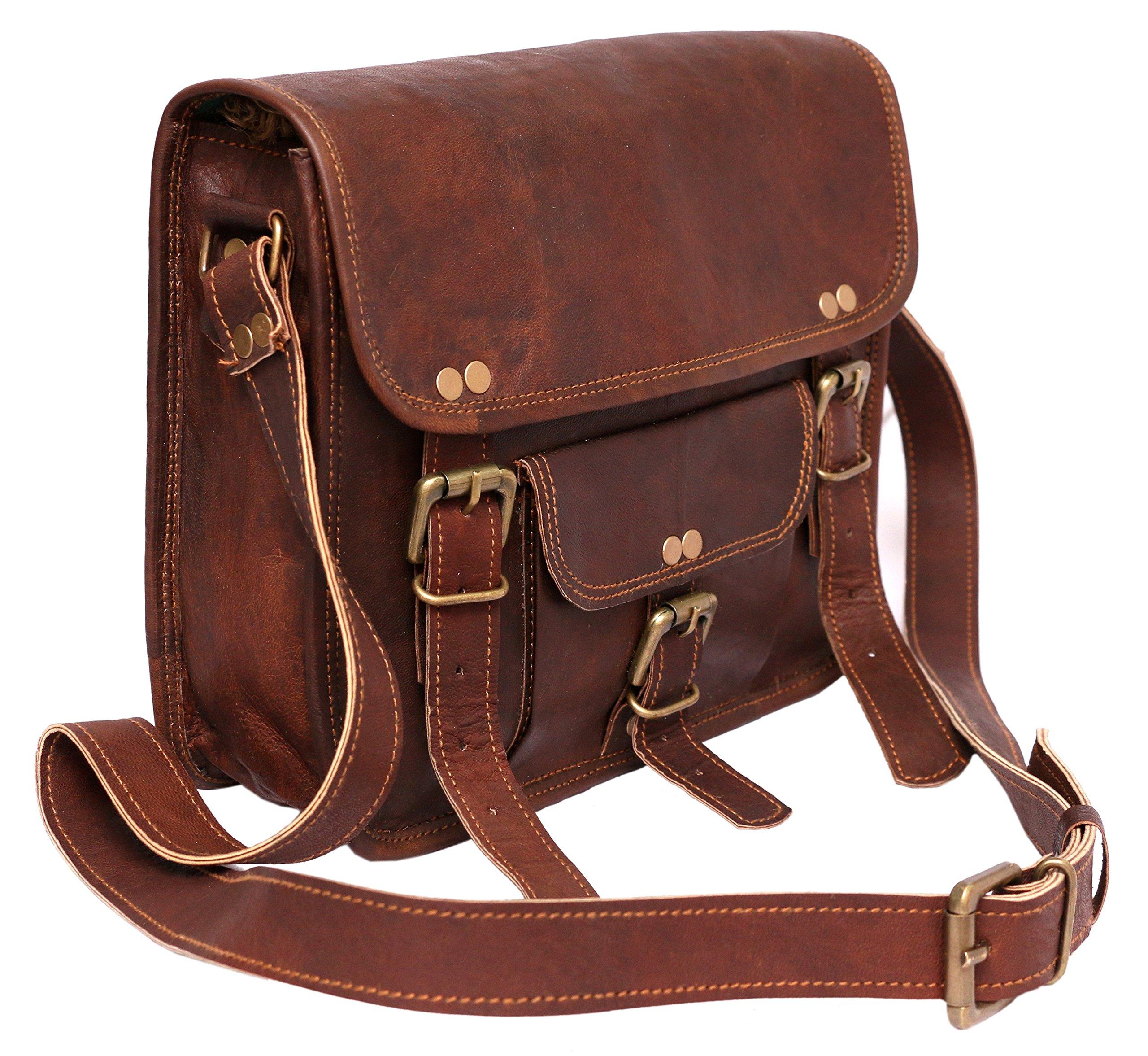 Right Choice 11'' Leather Shoulder Bag Women Purse Handbag Crossbody Handbag School Bag Ipad Messenger Bag Travel Purse 11X9X3 Brown by Right Choice