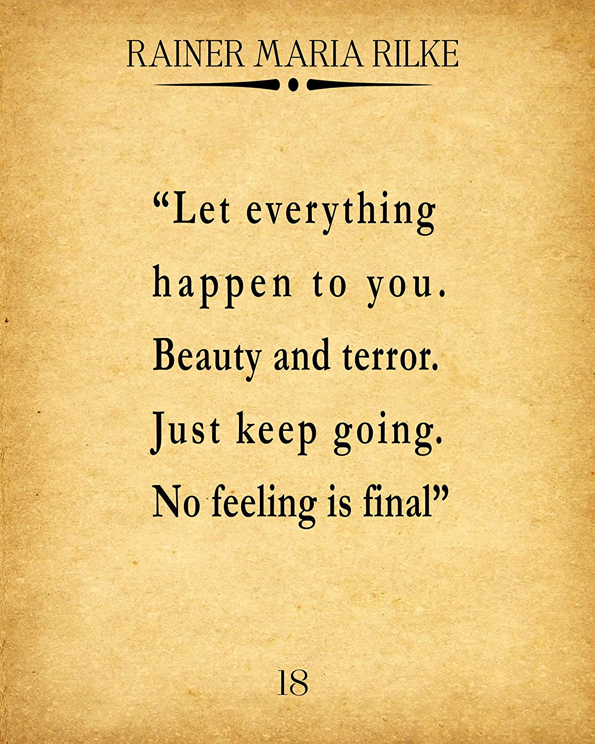 Wallbuddy Rainer Maria Rilke Quote Let Everything Happen to You (8 x 10, Vintage)