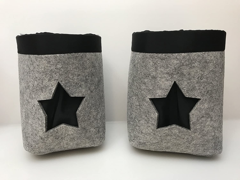 Gilde Felt Planter Pot Set of 2Grey Black Star with Plastic Insert, 20and 22cm