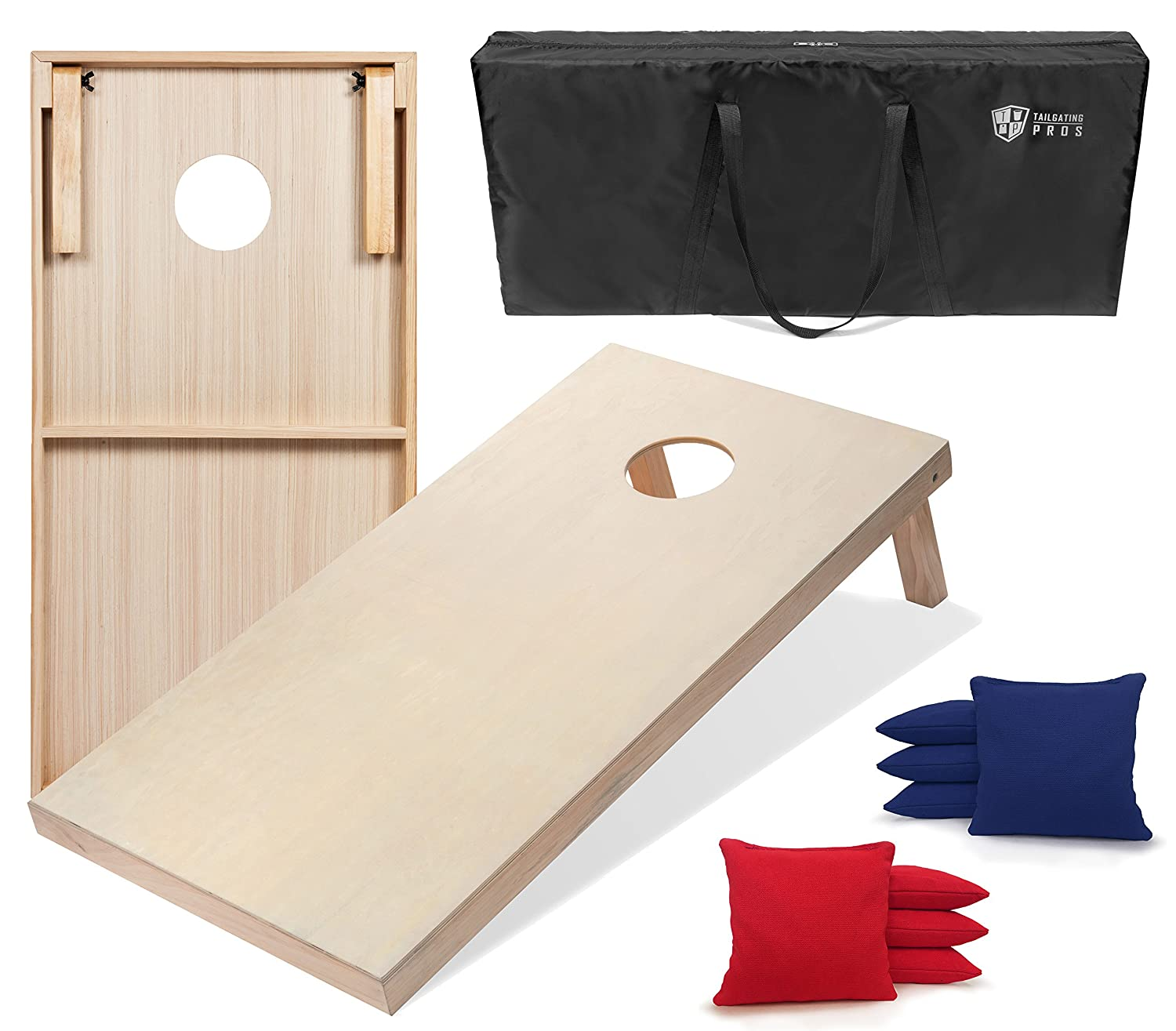 Tailgating Prosソリッド木製プレミアムCornhole Boards with Corn Filledバッグ – 規定サイズまたはオプションTailgatingサイズW / Carrying Case & LEDライト B07BS6Z8L8 Regulation w/ Carrying Case|Red/Royal Blue Red/Royal Blue Regulation w/ Carrying Case