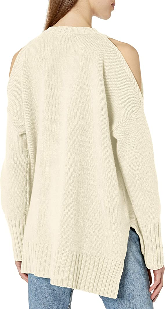 BCBGMAXAZRIA Womens Steffe Knit Cold Shoulder Sweater