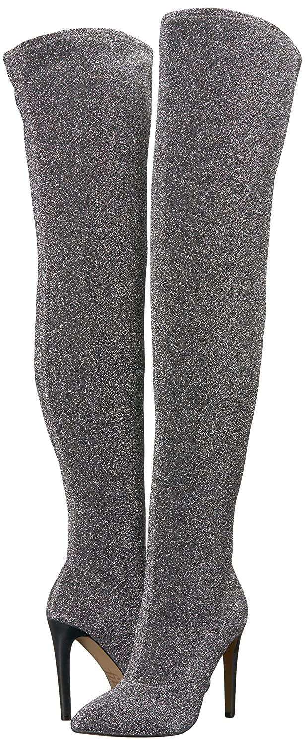 f92f1fe7c31 Amazon.com  The Fix Women s Mia Pointed-Toe Thigh-High Sock Boot Over The  Knee  Clothing
