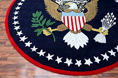 US Logo Flag 6 x6 Eagle Pluribus President Handmade Tufted 100 Woolen Rugs Carpet