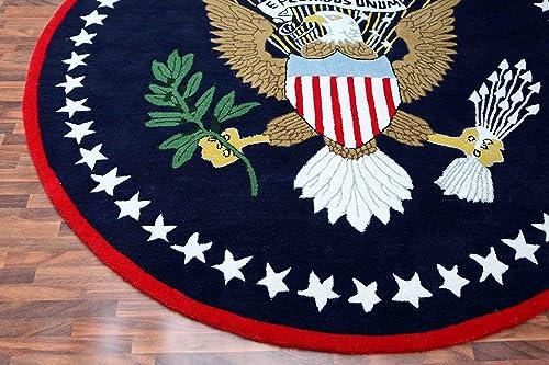 US Logo Flag 6 x6 Eagle Pluribus President Handmade Tufted 100 Woolen Rugs Carpet