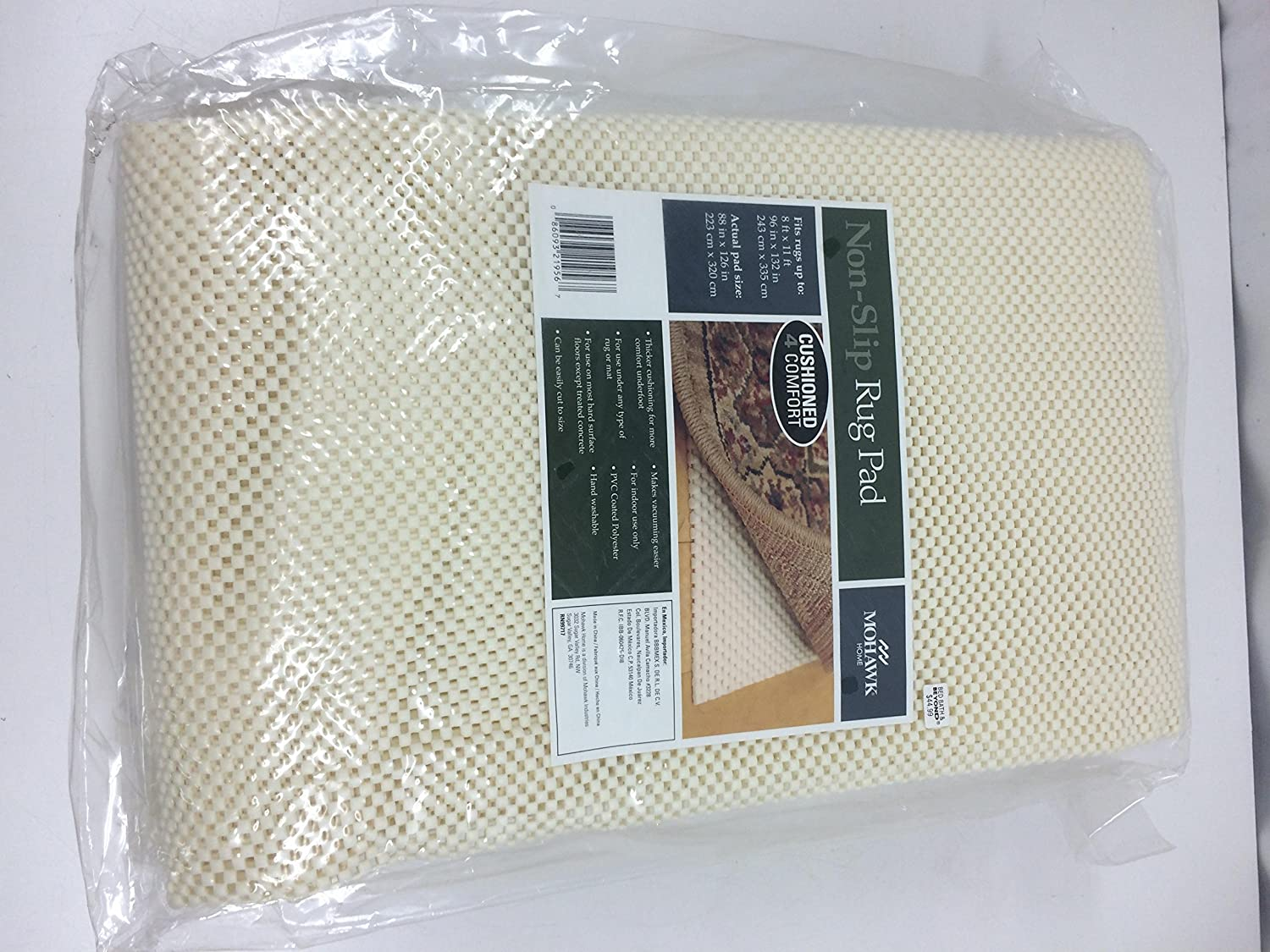 Mohawk Home Non-Slip Rug Pad - fits 8 ft x 11 ft, Actual Size 88 in x 126 in