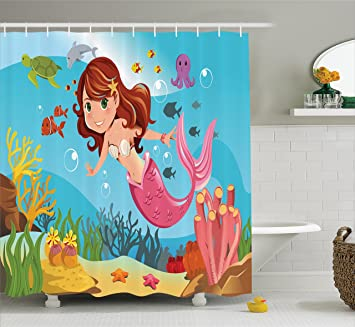 Little Mermaid Shower Curtain Set By Ambesonne, Mermaid Swimming Underwater  In The Ocean Smiles Kids